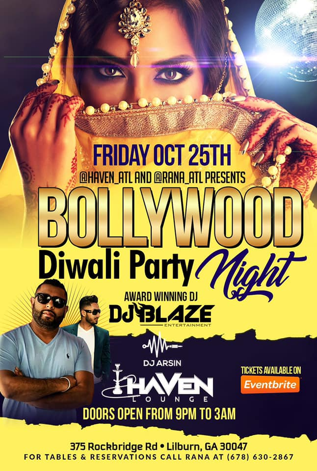 Bollywood Diwali Party Night in Lilburn Hosted By Haven Atl and Rana Atl