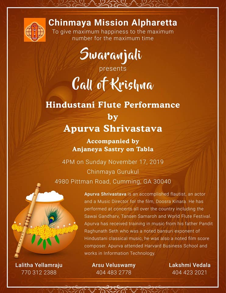 Call of Krishna - Hindustani Flute Concert in Cumming