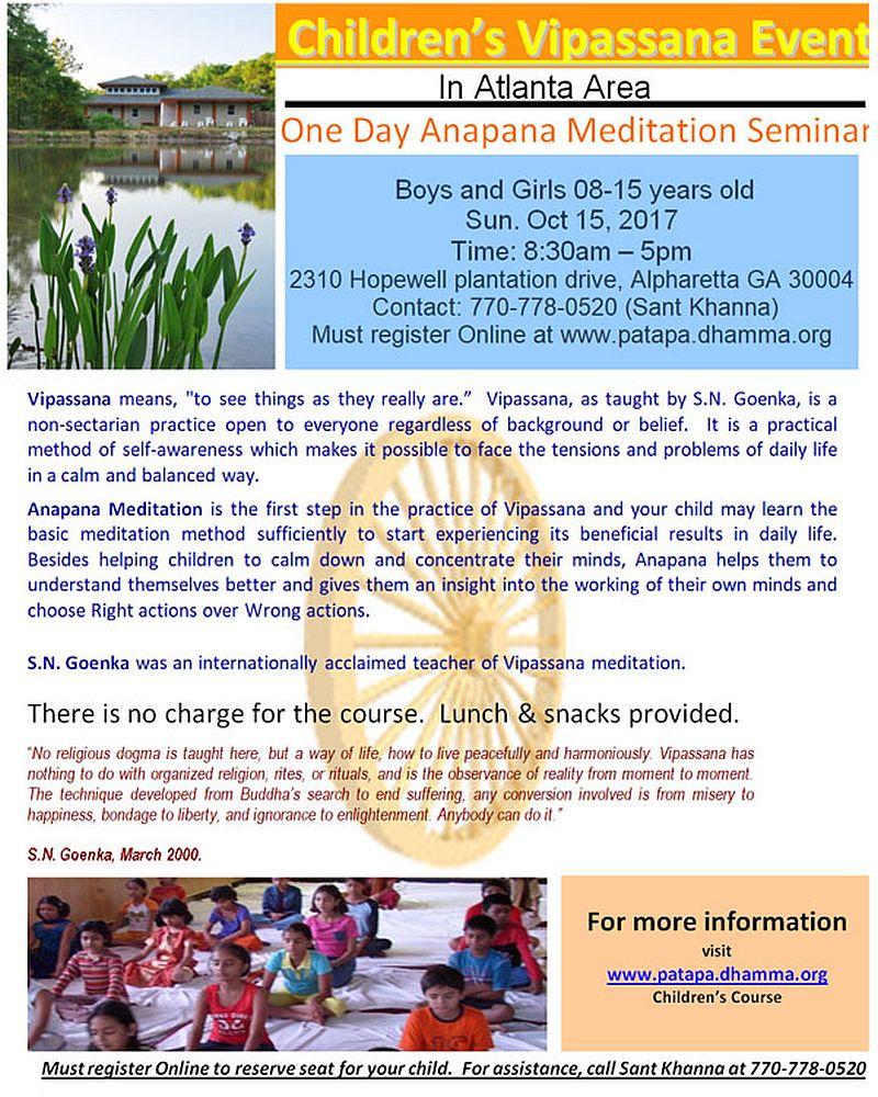 Children's Vipassana: Anapana Meditation