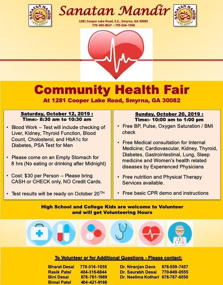 Community Health Fair: Sanatan Mandir