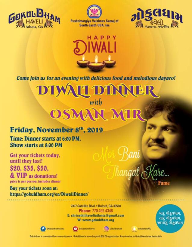 Diwali Dinner with Osman Mir in Buford Hosted by Gokuldham Haveli Atlanta