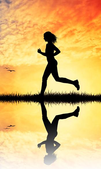 Running at sunset