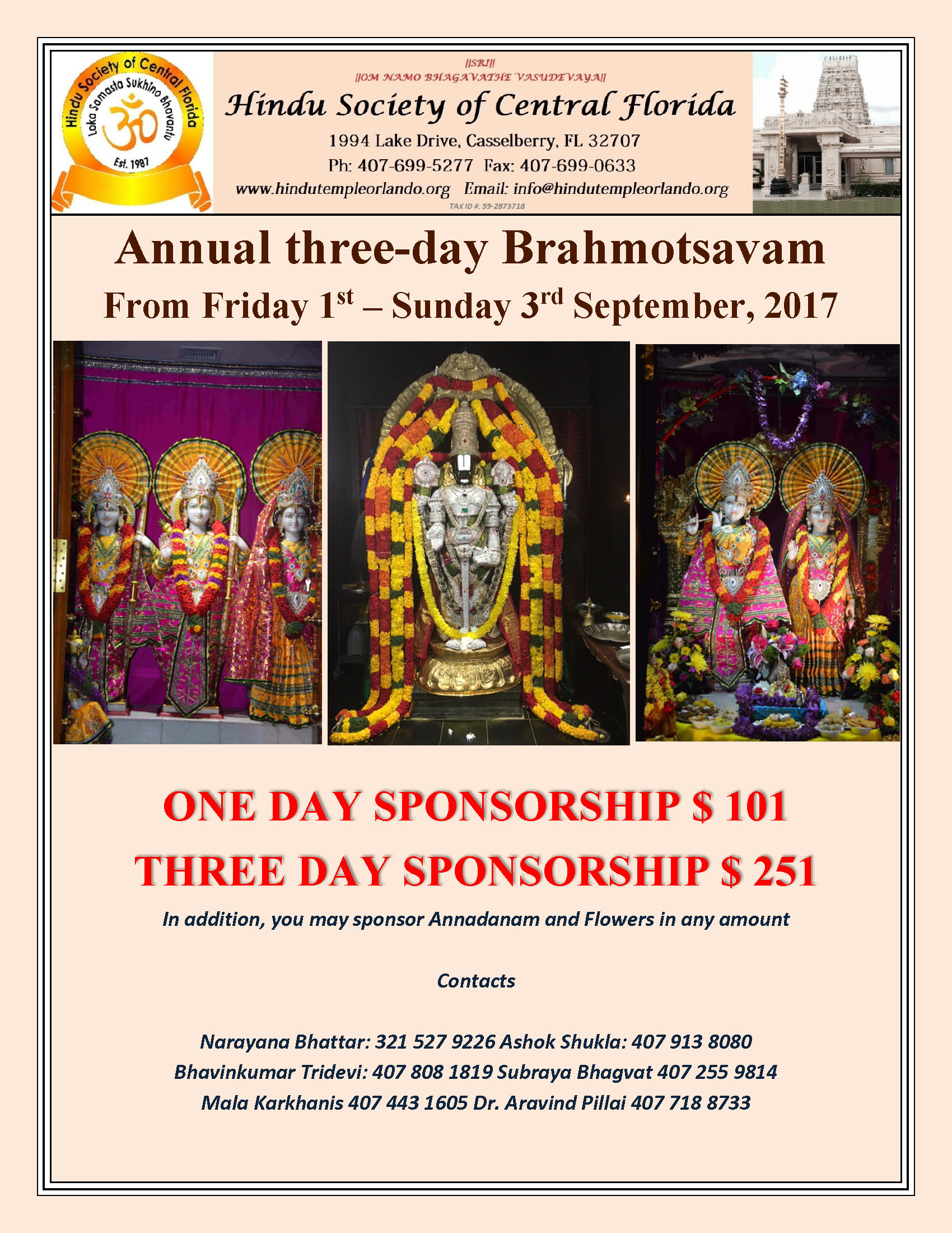 Annual Three-day Brahmotsavam