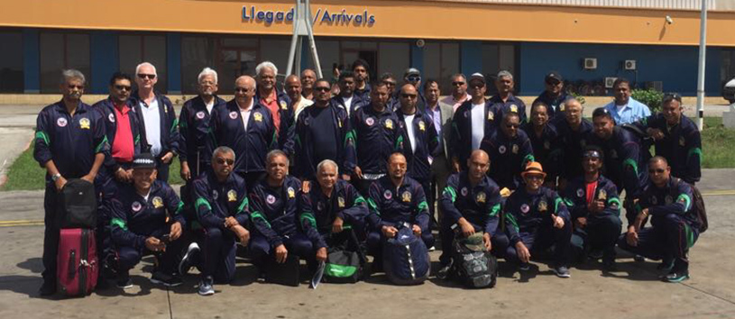 Members of the Miramar Masters Cricket Club on their arrival at Havana Airport