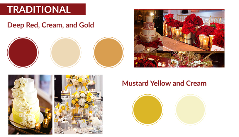 Deep Red, Cream and Gold