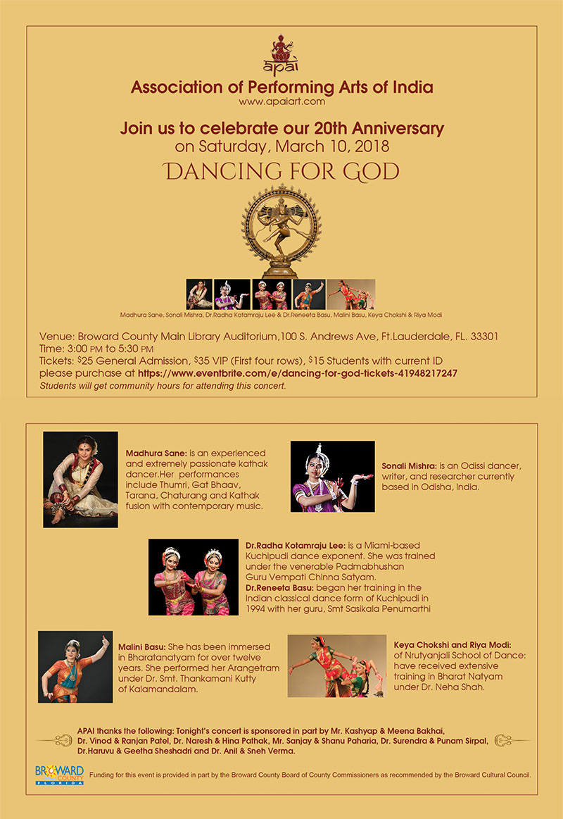 Association of Performing Arts of India - Celebrate 20th Anniversary on Saturday, March 10, 2018