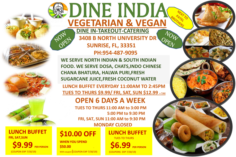 Dine India Indian Restaurant in South Florida