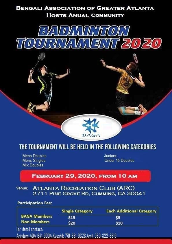 BAGA Annual Badminton Tournament in Cumming