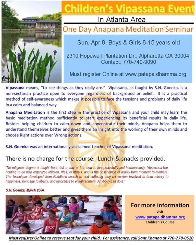 Children's Vipassana Course - Anapana Meditation Seminar