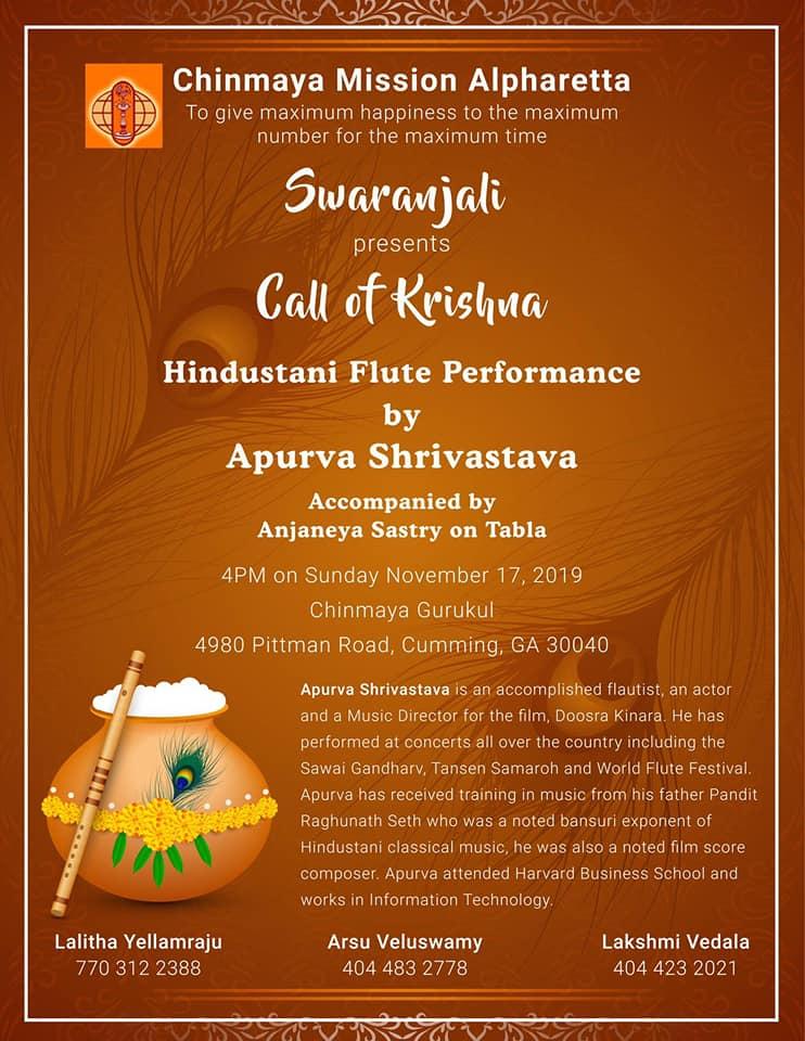 Call of Krishna - Hindustani Flute Concert in Cumming