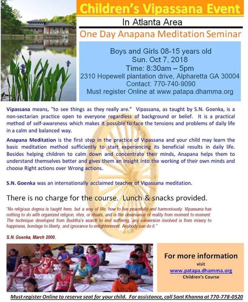Children's Vipassana Event in Alpharetta