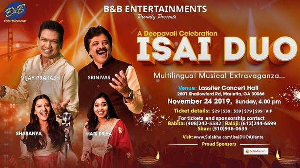 ISAI DUO - A Musical Deepavali Celebration in Atlanta Hosted by B&B Entertainments