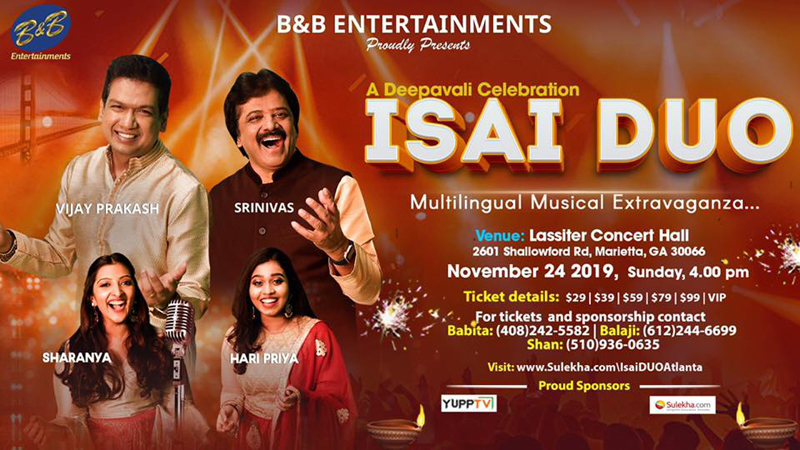 ISAI DUO - A Musical Deepavali in Marietta Hosted by B&B Entertainments