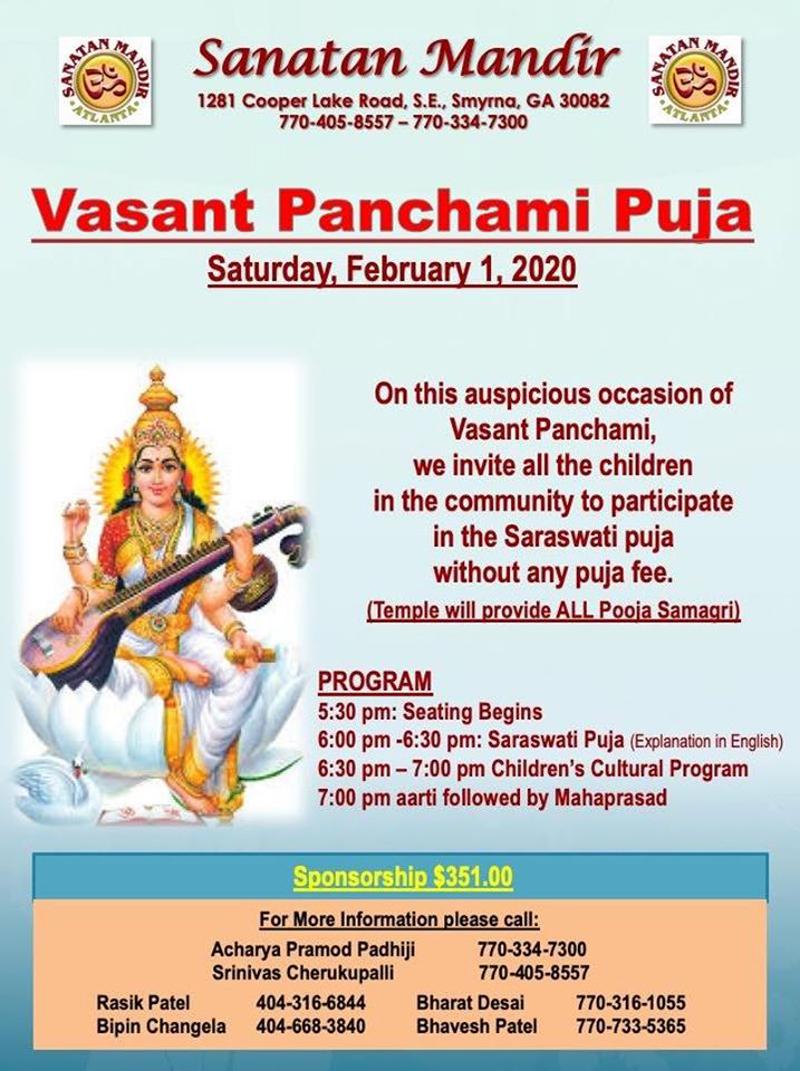 Vasant Panchami Puja - Saraswati Puja in Smyrna