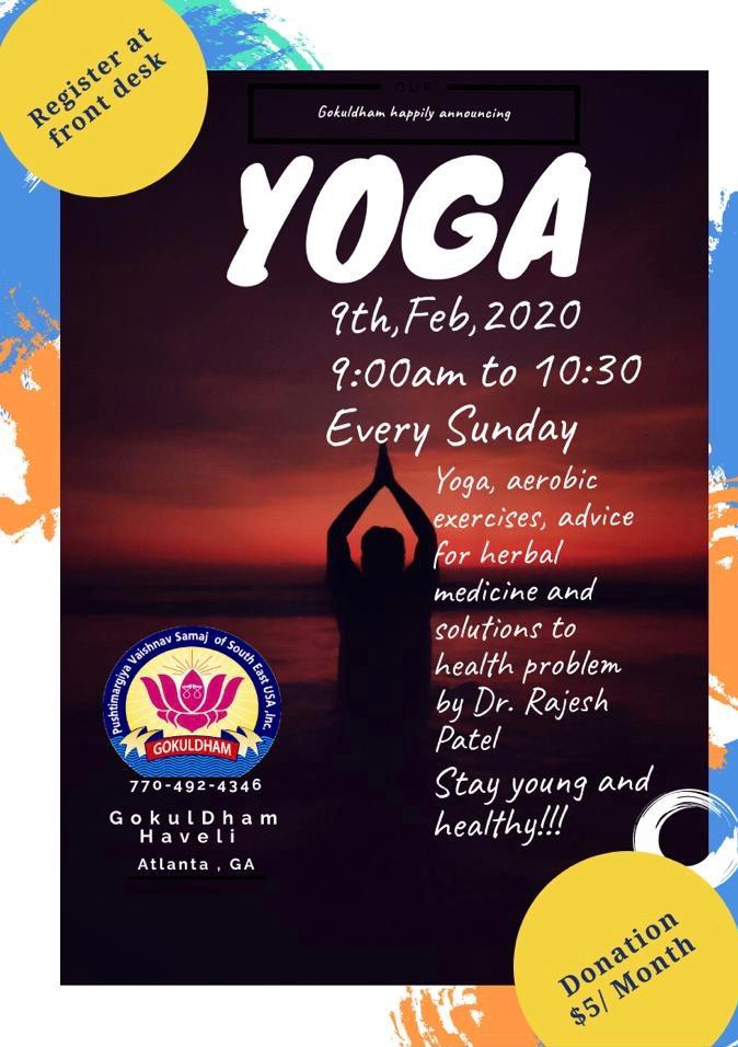 Yoga at Gokuldham in Buford