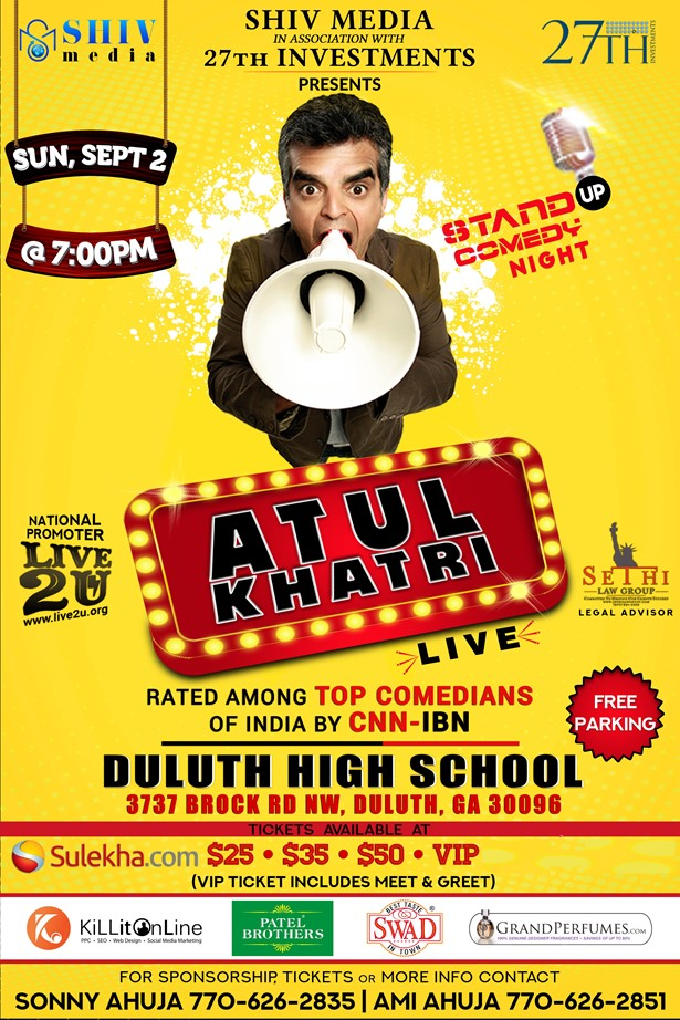 Atul Khatri Live in Atlanta - Stand Up Comedy Night