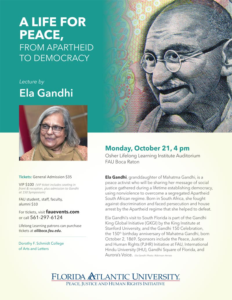 Ela Gandhi Presents A Life for Peace, from Apartheid to Democracy
