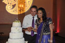 Preethi cutting the cake