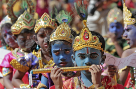 "School children dressed as Hindu Lord Krishna take part in a function held ahead of ""Janamashtmi"" celebrations in the southern Indian city of Chennai"