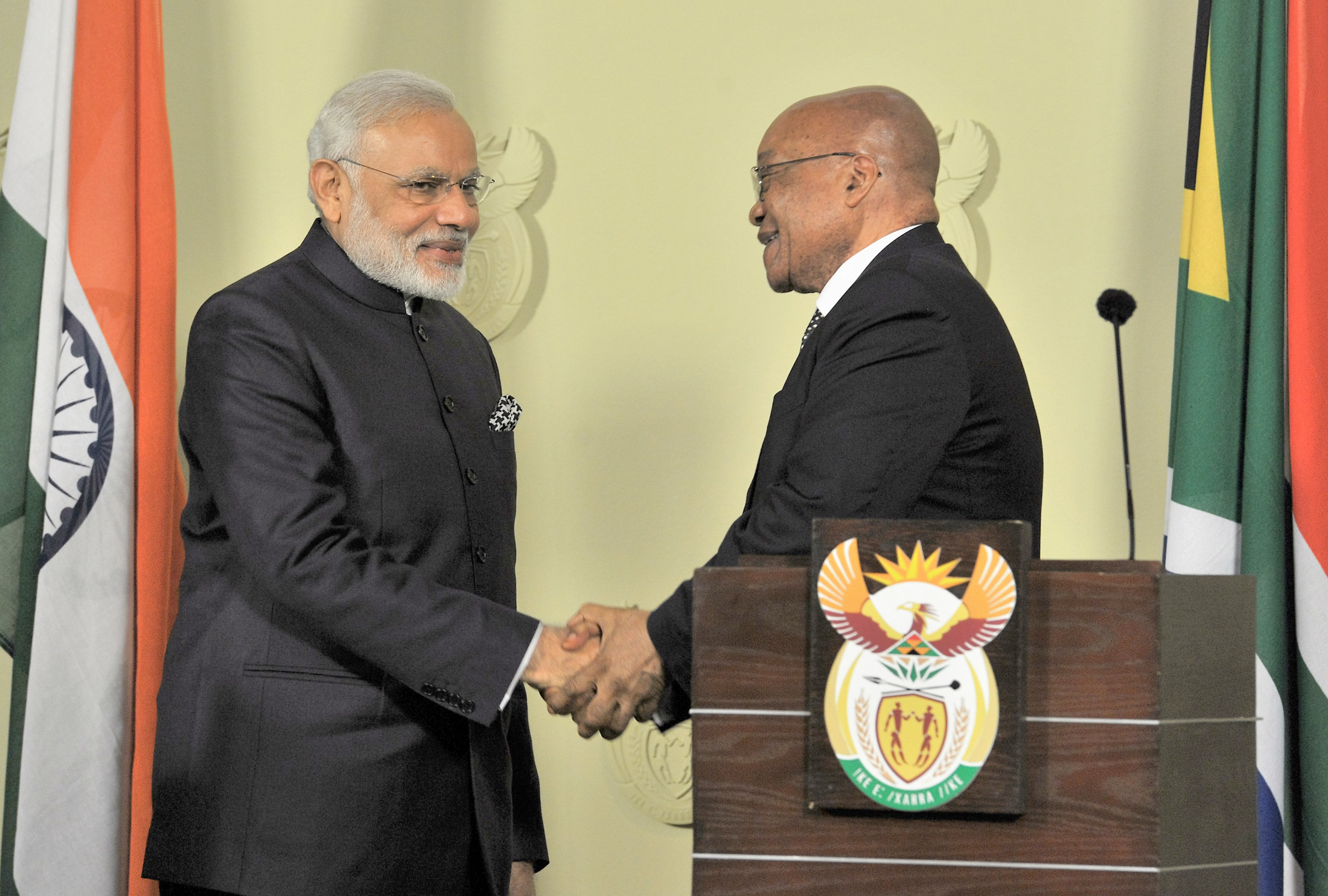 The Prime Minister, Shri Narendra Modi and the President of the Republic of South Africa, Mr. Jacob Zuma, during the Joint Press Statement, at Union Buildings, in Pretoria, South Africa on July 08, 2016.
