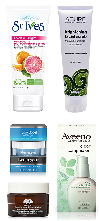 St. Ives Radiant Skin Face Scrub or ACURE Brightening Facial Scrub or Neutrogena Hydro Boost Water Gel