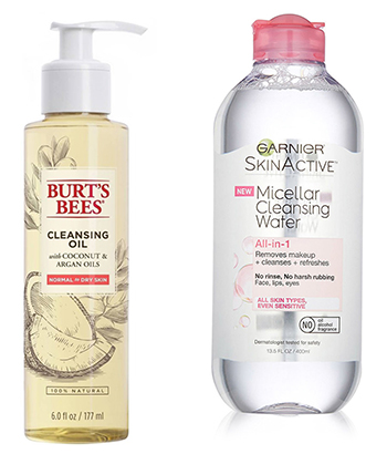 Garnier SkinActive Micellar Cleansing Water or Burt's Bees Cleansing Oil with Coconut & Argan Cleanser.