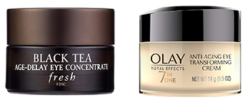 7-in-one Anti-Aging Transforming Eye Cream or Fresh Black Tea Age-Delay Eye Concentrate.
