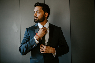 Indian Groom Getting Ready for Reception