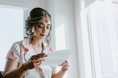 Indian Bride Reading Indian Groom's Letter
