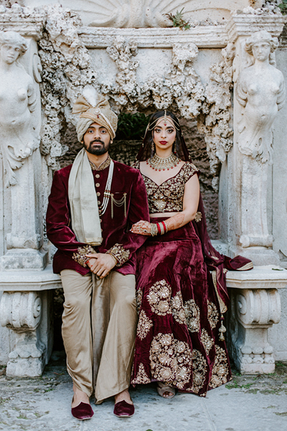 Indian Bride and Groom in Wedding Outfit