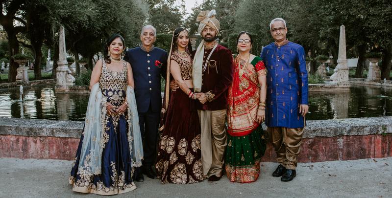 Indian Bride and Groom with Family Capture