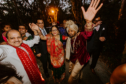 Indian Bride Dancing with Family in Jaan
