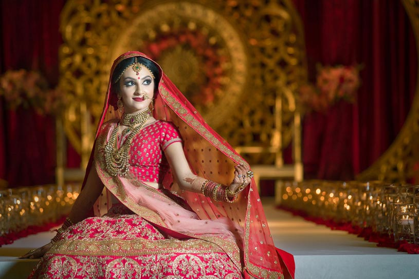Indian bride in traditional garb.