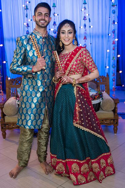 Indian Bride and Groom ready for Dandiya Raas