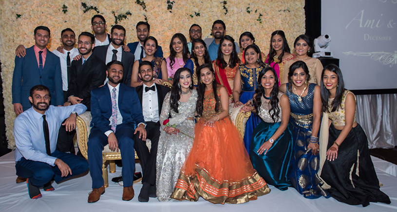 Indian Couple with Cousins and Friends Reception Capture