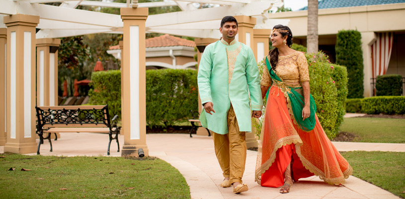 Gorgeous Indian Couple Walking Holding Hands