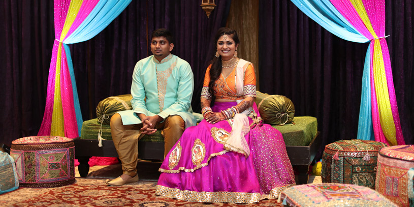Gorgeous Indian Couple During Sangeet Ceremony