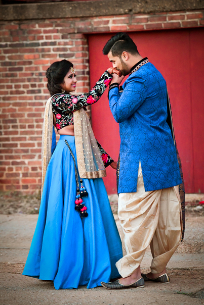 Indian Bride and Groom in Sangeet Outfit
