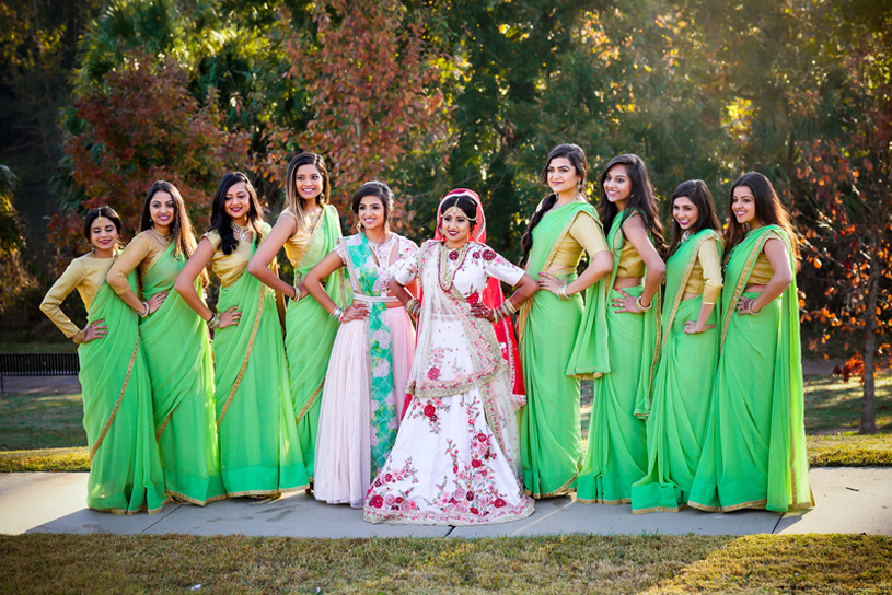 Indian Bride Posing with Bridesmaids