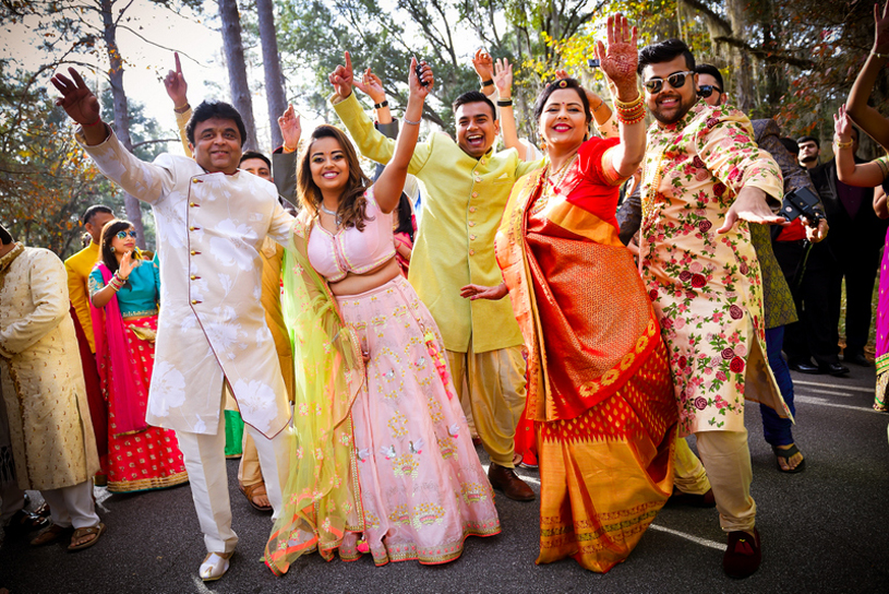 Indian Bride Dance with His Family In Baraat