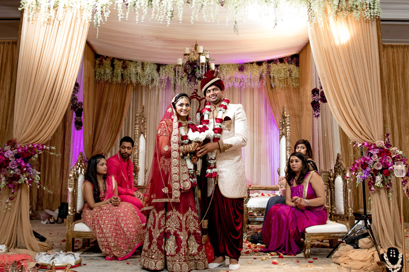 Gorgeous Indian Bride and Groom under Wedding Mandap