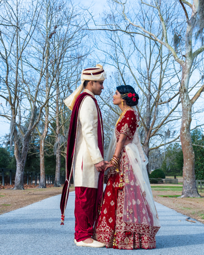 Charming Moment Between Indian Newlyweds Before the Ceremony