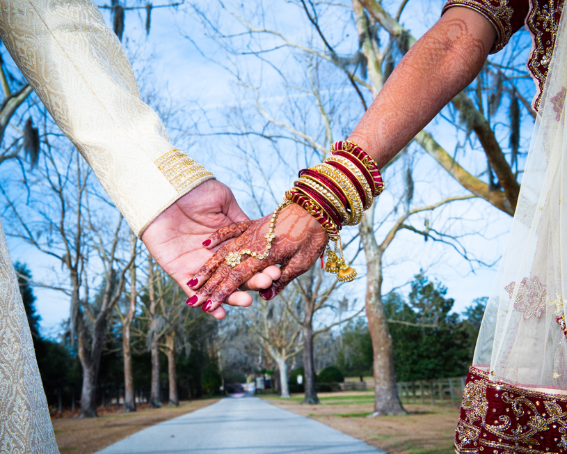Indian Newlyweds Holding Hands