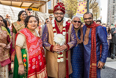Indian Groom with Family Capture at Baraat Procession