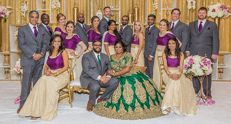 Indian Bride and Groom with Groomsmen and Bridesmaids