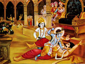 The death of the evil Narakasura in the hands of Lord Krishna