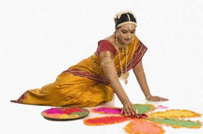 colorful rangoli making