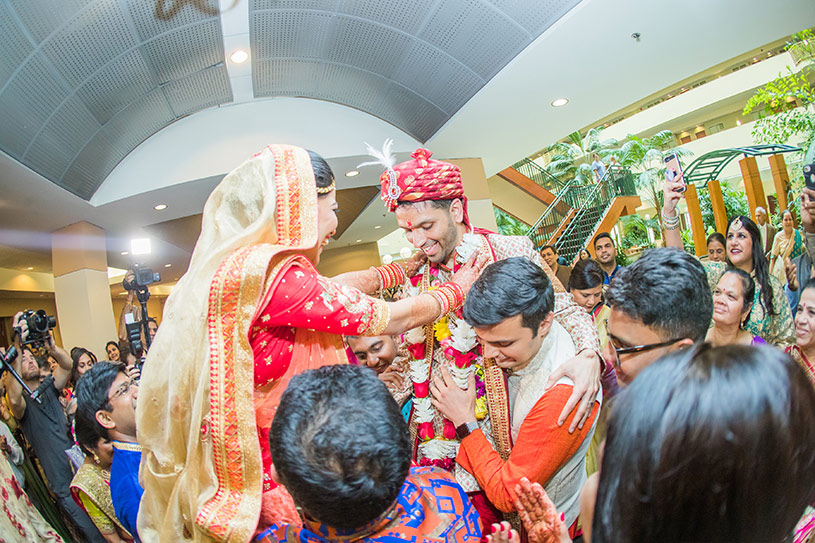 Indian Bride and Groom at their Garland Ceremony