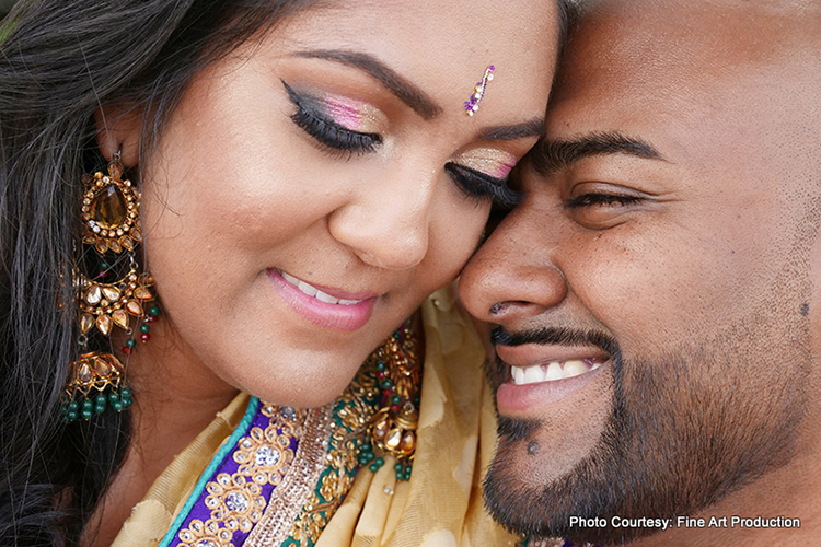 Indian Couple having tender moment as the photoshoot continues