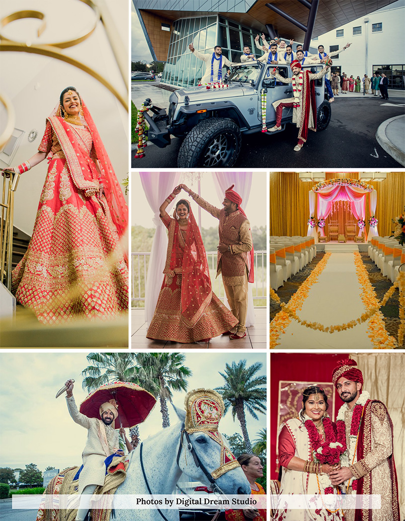 Unique photographs taken at an Indian weddings are made up of warm glances, shared laughter, loving stares, bold colors, elegant mandaps, and unique table settings